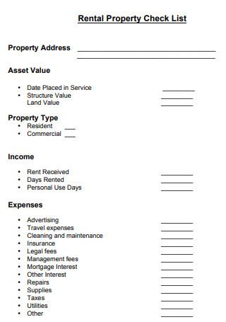 Free Rental Property Check List