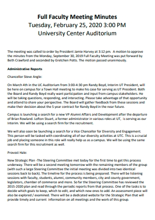 Full Faculty Meeting Minutes