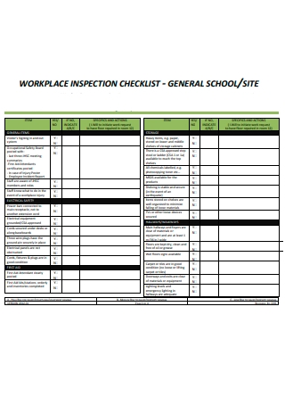 General School Workplace Inspection Checklist