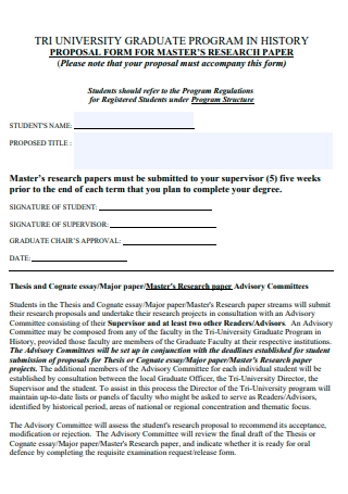 Graduate Program History Proposal Form For Master Research