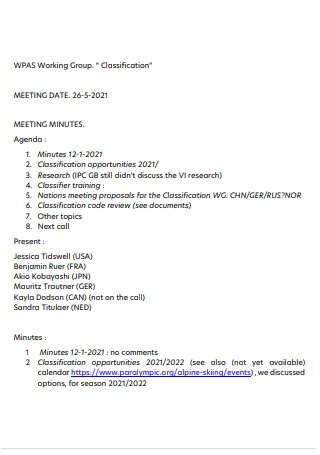 Group Classification Meeting Minutes