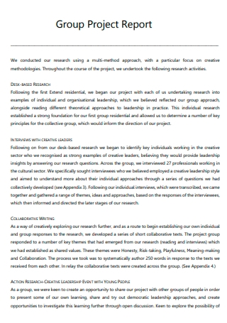 Group Project Report Example