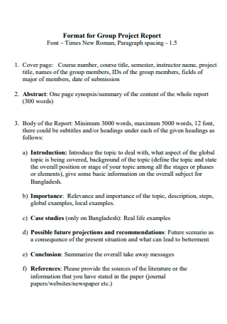 Group Project Report Format