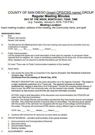 Group Regular Meeting Minutes