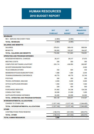 HR Business Plan And Budget