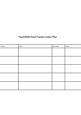 Head Teacher Action Plan