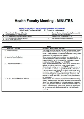 Health Faculty Meeting Minutes