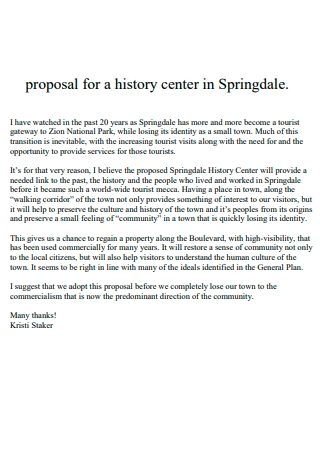 History Center Proposal