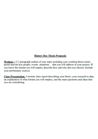 History Day Thesis Proposal