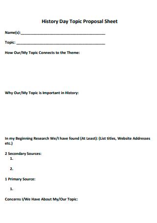 History Day Topic Proposal Sheet