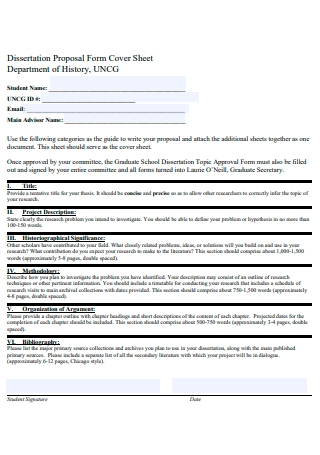 History Disseration Proposal Form