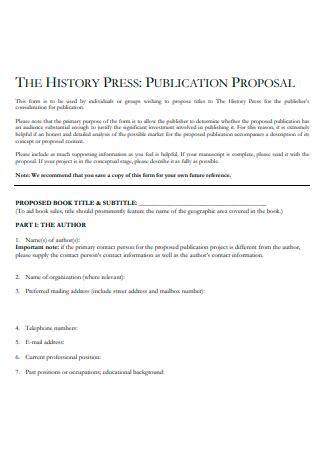 History Press Publication Proposal