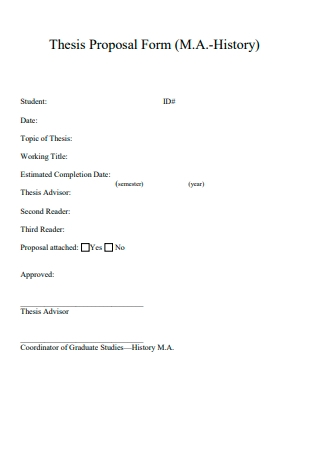 History Thesis Proposal Form