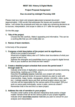 History and Digital Media Project Proposal Assignment