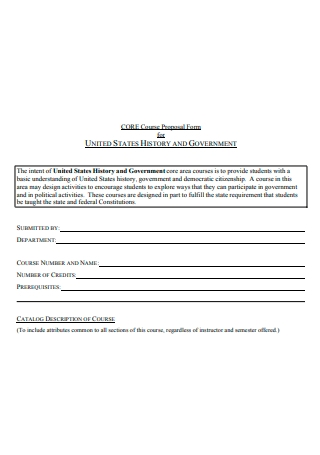 History and Government Course Proposal Form