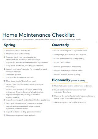 Home Maintenance Checklist Format