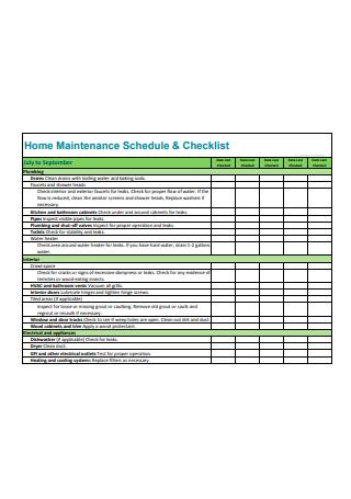 Home Maintenance Schedule and Checklist