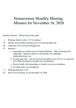 Homeowners Monthly Meeting Minutes