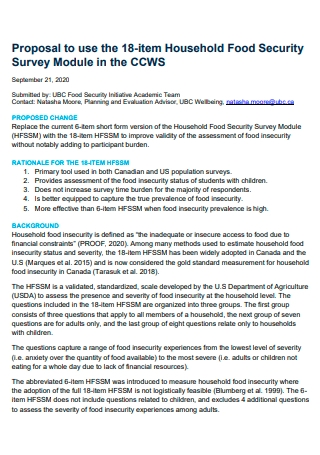 Household Food Security Survey Module Proposal