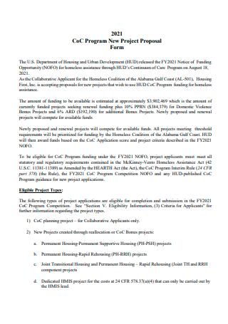 Housing Program New Project Proposal