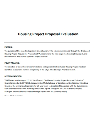 Housing Project Proposal Evaluation