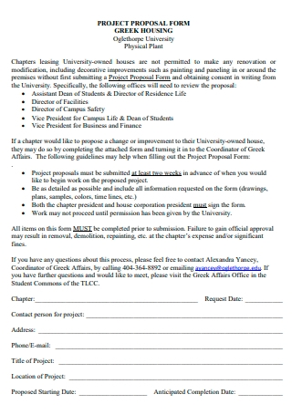 Housing Project Proposal Form