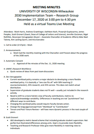 Implementation Virtual Team Live Meeting Minutes