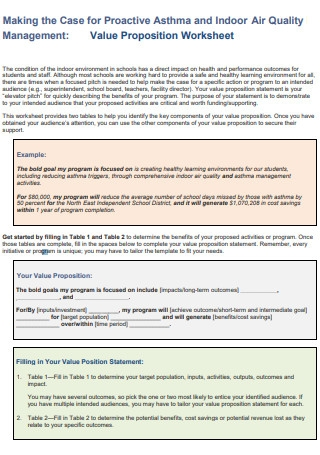 Indoor Air Quality Management for Value Propositions Worksheet