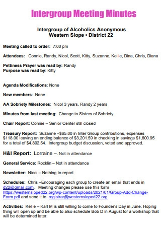 Inter Group Meeting Minutes