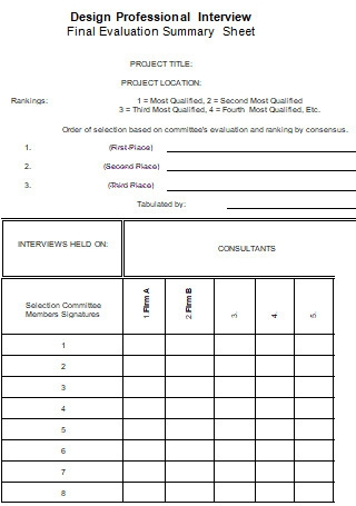 Interview Final Evaluation Summary Sheet