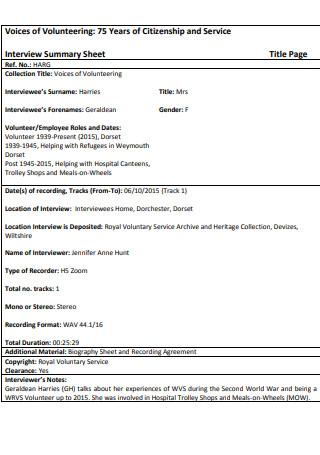 Interview Summary Service Sheet