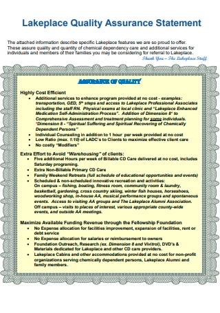 Lakeplace Quality Assurance Statement
