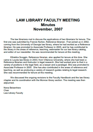 Law Library Faculty Meeting Minutes