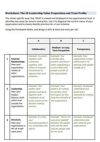 Leadership Value Propositions Worksheet