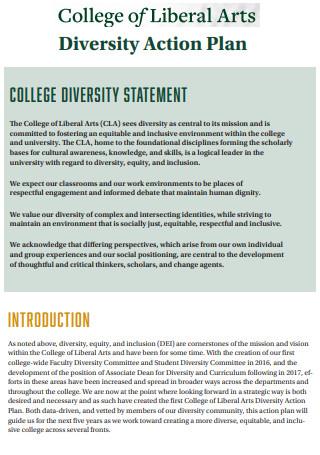 Liberal Arts Diversity Action Plan