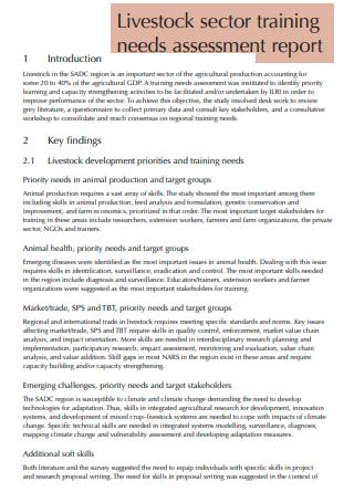 Livestock Sector Training Needs Assessment Report