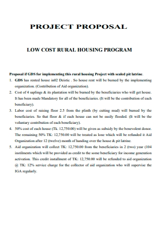 Low Cost Rural Housing Program Project Proposal