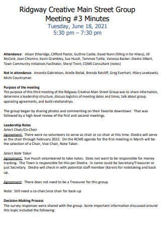 Main Street Group Meeting Minutes
