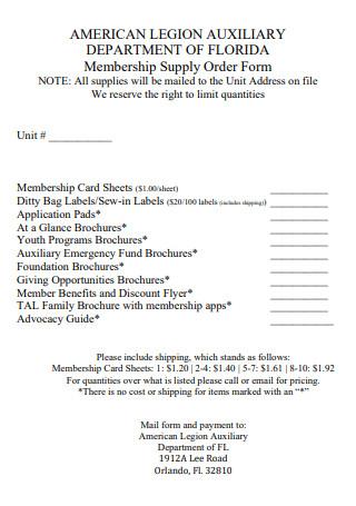 Membership Supply Order