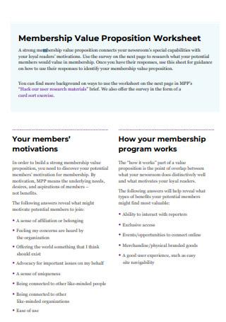 Membership Value Proposition Worksheet