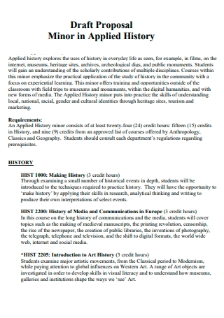 Minor in History Proposal