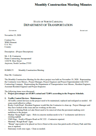 Monthly Construction Meeting Minutes