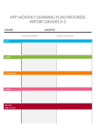 Monthly Learning Plan Progress Report