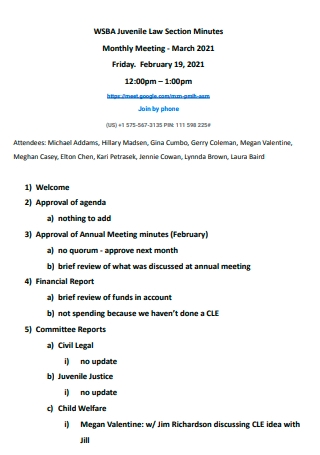 Monthly Meeting Law Section Minutes
