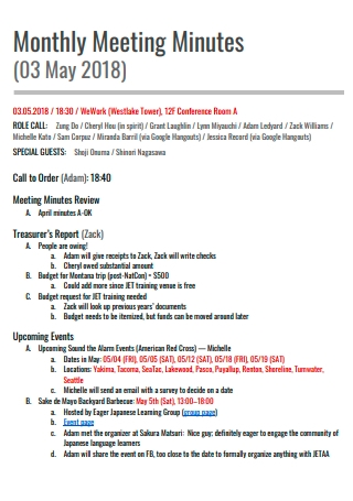 Monthly Meeting Minutes Template