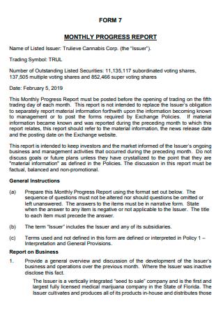 Monthly Progress Report Form