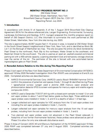 Monthly Progress Report in PDF
