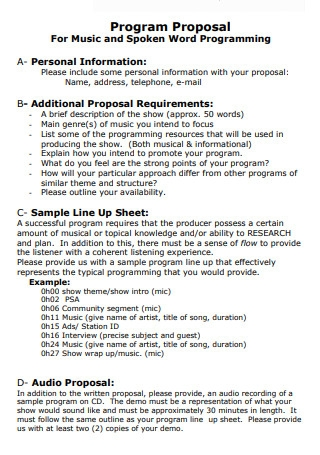 Music Business Proposal Example