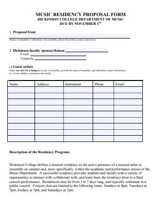 Music Residency Business Proposal Form