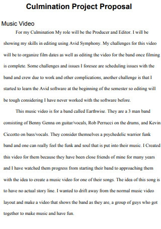 Music Video Project Proposal